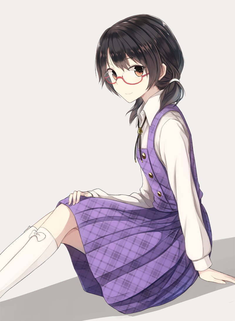 1girl black_hair breasts fumei_(mugendai) glasses grey_background hand_on_own_knee kneehighs long_sleeves looking_at_viewer neck_ribbon orange_eyes ribbon shirt short_hair short_twintails simple_background sitting skirt small_breasts smile solo touhou twintails usami_sumireko white_legwear