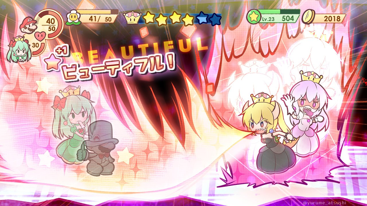 1boy 3girls black_dress black_eyes blonde_hair blue_eyes bow bowsette breathing_fire brooch brown_hair crown dress earrings facial_hair fan fire floating formal gameplay_mechanics ghost gloves green_dress green_hair hair_bow hat horns jewelry long_hair luigi's_mansion mario mario_(series) multiple_girls mustache new_super_mario_bros._u_deluxe nintendo open_mouth pale_skin paper_mario parody personification princess_king_boo resaresa smile solid_oval_eyes style_parody suit super_crown super_mario_bros. super_mario_odyssey tail tongue tongue_out top_hat translated tuxedo white_dress white_hair white_suit yurume_atsushi