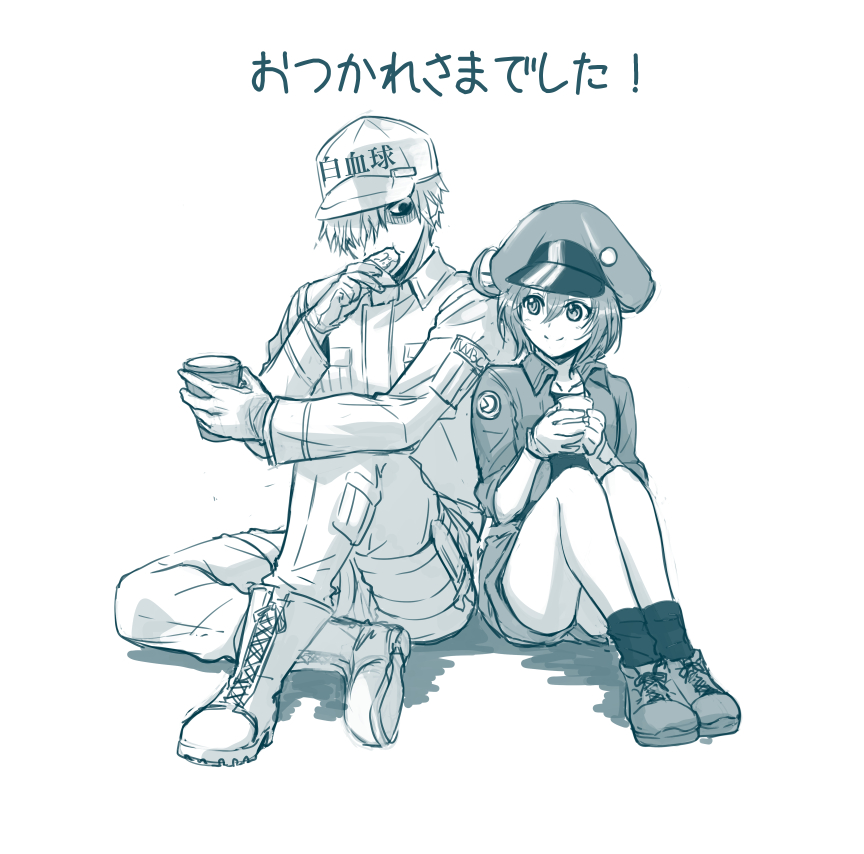 1boy 1girl ae-3803 ahoge baseball_cap black_(dragon_festival) boots cabbie_hat collared_shirt cross-laced_footwear cup eating full_body gloves greyscale hair_over_one_eye hat hataraku_saibou jacket legs_together long_sleeves looking_at_another monochrome pants red_blood_cell_(hataraku_saibou) shirt shoes short_hair short_shorts shorts side-by-side simple_background sitting smile sneakers socks u-1146 white_background white_blood_cell_(hataraku_saibou)