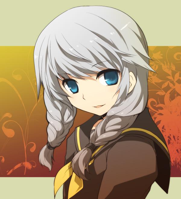 blue_eyes braid crossdress crossdressing kamiyoshi narukami_yuu persona persona_4 protagonist_(persona_4) school_uniform serafuku seta_souji silver_hair trap twin_braids