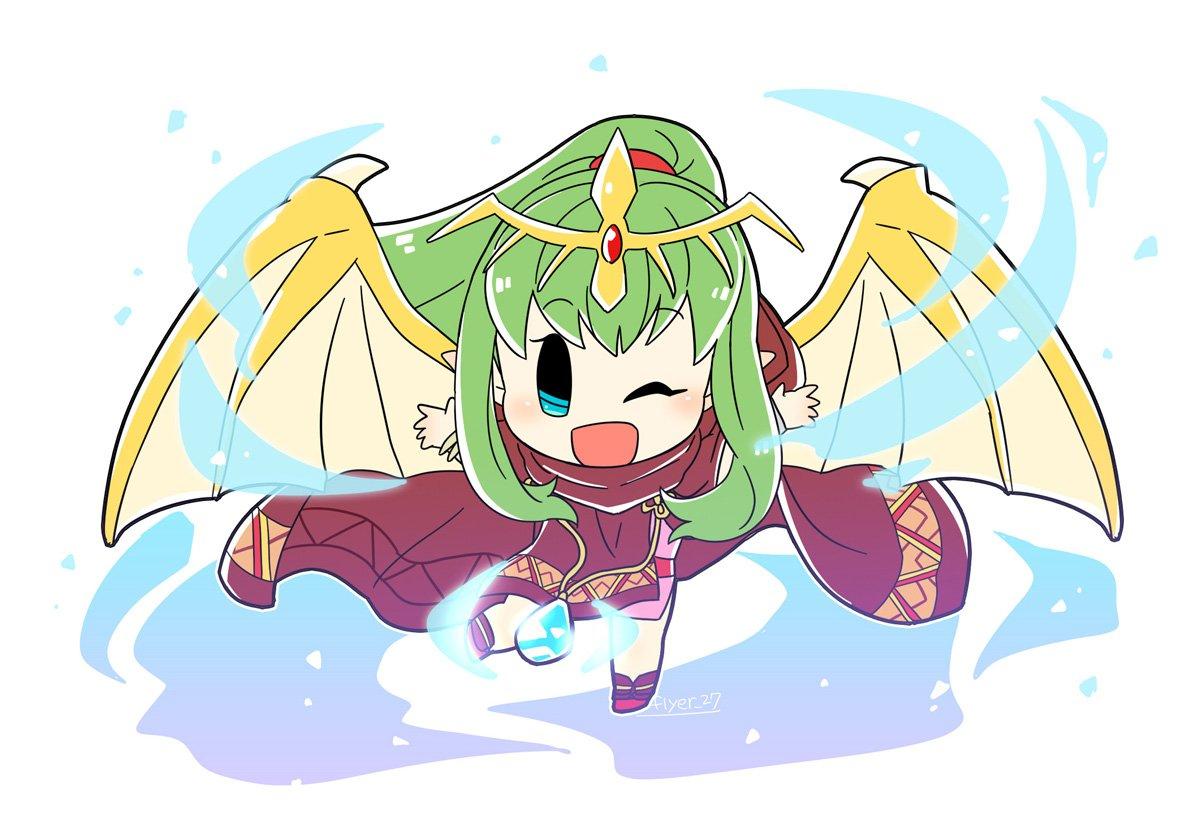 1girl artist_name bracelet chibi chiki cloak dragon_wings fire_emblem fire_emblem:_monshou_no_nazo fire_emblem_heroes flyer_27 full_body green_hair hair_ribbon hood hood_down jewelry long_hair mamkute nintendo one_eye_closed open_mouth outstretched_arms pointy_ears ponytail red_ribbon ribbon simple_background solo spread_arms stone tiara white_background wings
