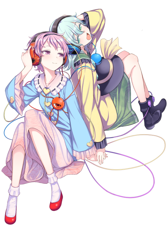 2girls ankle_boots ankle_socks aqua_eyes aqua_hair back-to-back black_footwear blouse blue_blouse boots commentary_request eyebrows_visible_through_hair floral_print frilled_sleeves frills green_skirt hair_between_eyes half-closed_eyes hand_on_headphones hands_together head_lift headphones headwear_removed heart knees_together_feet_apart knees_up komeiji_koishi komeiji_satori kumadano lavender_eyes lavender_hair lavender_skirt long_sleeves looking_back multiple_girls open_mouth red_footwear short_hair siblings simple_background sisters sitting skirt slippers smile third_eye touhou white_background yellow_blouse