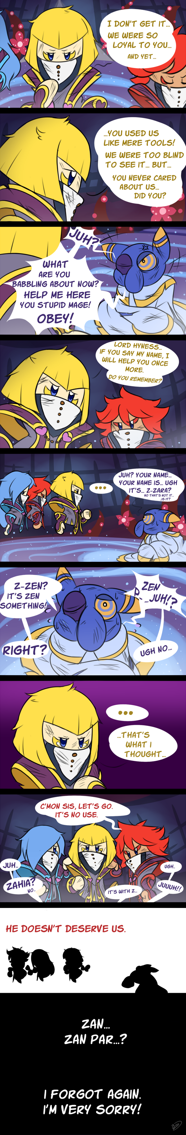 1boy 3girls absurdres after_battle altar anger_vein black_eye blonde_hair blue_eyes blue_hair closed_eyes comic commentary covered_mouth crazy_eyes dirty english_commentary flamberge_(kirby) floating flower francisca_(kirby) glaring gold_trim half-closed_eyes highres hyness injury kirby:_star_allies kirby_(series) light_particles long_hair long_image messy_hair multiple_girls nintendo no_humans one_eye_closed pillar redhead robe sad short_hair signature silhouette spoilers sweat sweatdrop tall_image tears very_long_sleeves white_robe zan_partizanne zieghost