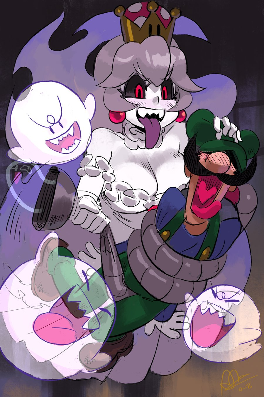 1boy 1girl alex_ahad black_sclera boo breasts cleavage commentary crown facial_hair ghost hat highres luigi luigi's_mansion mario_(series) mustache new_super_mario_bros._u_deluxe nintendo overalls poltergust_3000 princess_king_boo purple_tongue red_eyes screaming shoes super_crown tongue tongue_out white_hair white_skin