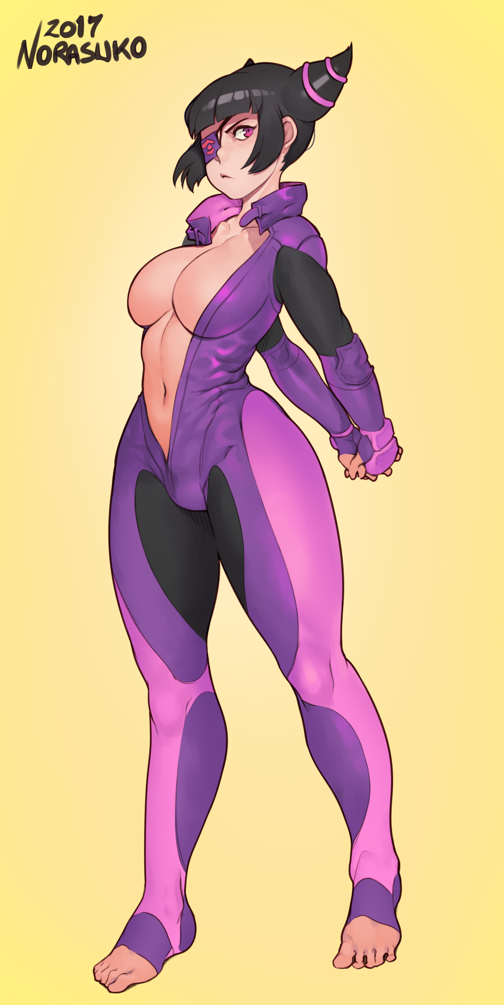 :< alternate_breast_size arms_behind_back asian barefoot biker_clothes bikesuit black_hair breasts cleavage curvy eyepatch feet female female_only full_body han_juri highres interlocked_fingers large_breasts navel no_bra norasuko one-eyed short_hair simple_background solo stomach street_fighter street_fighter_v stretching thick_thighs thighs toeless_legwear toes unzipped violet_eyes