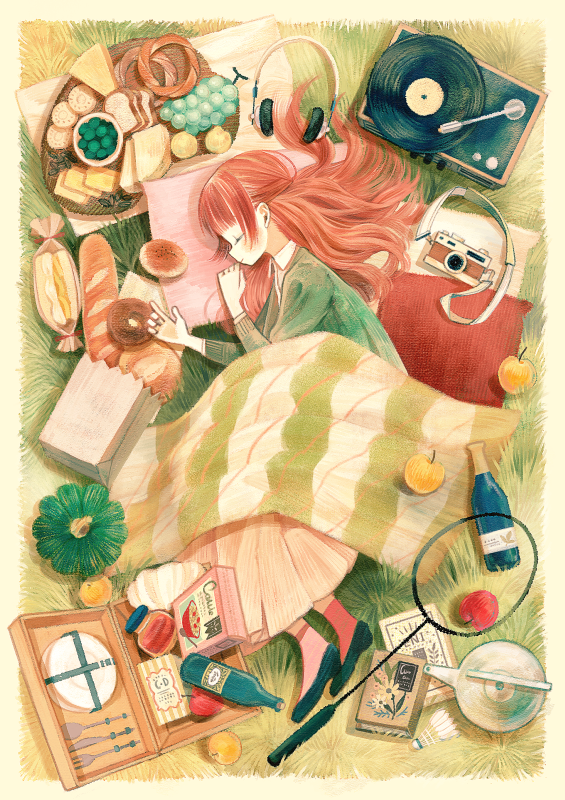 1girl apple badminton_racket bag baguette black_footwear blanket book bottle bread camera cereal_box cheese closed_eyes closed_mouth commentary_request doughnut food fork from_above from_side fruit grapes green_sweater headphones headphones_removed jar knife long_hair long_skirt long_sleeves lying on_side original paper_bag phonograph picnic pillow pink_legwear plate pumpkin racket record redhead sandwich shuttlecock skirt sleeping smile socks solo somemachi spoon sweater teapot