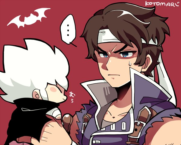 2boys bat belt blue_eyes blush_stickers brown_hair cape castlevania castlevania:_rondo_of_blood chibi closed_eyes headband kid_dracula kid_dracula_(game) kotokoto_kottan multiple_boys nintendo richter_belmondo shirt shoes short_hair signature sleeveless sleeveless_shirt super_smash_bros. super_smash_bros._ultimate sweatdrop white_hair