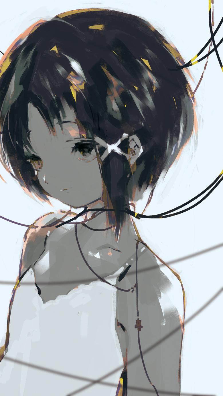 1girl anabone asymmetrical_hair brown_eyes brown_hair hair_ornament hairclip highres iwakura_lain serial_experiments_lain short_hair solo upper_body wire