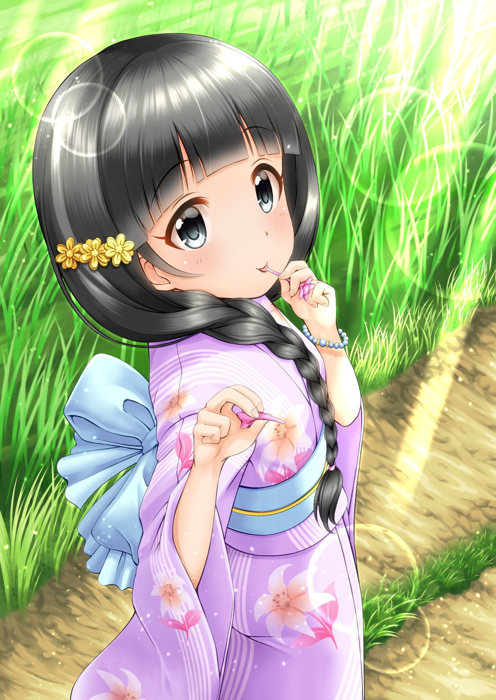 1girl back_bow black_hair blue_bow blush bow braid closed_mouth commentary_request dress floral_print flower grass hair_flower hair_ornament hair_over_shoulder highres idolmaster idolmaster_cinderella_girls japanese_clothes kimono lens_flare long_hair long_sleeves looking_at_viewer obi outdoors print_kimono purple_kimono regular_mow road sash side_braid single_braid smile solo standing sunlight tongue tongue_out ujiie_mutsumi very_long_hair wide_sleeves yellow_flower