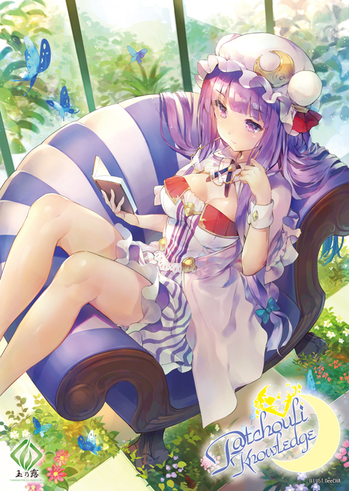 1girl adapted_costume bangs blue_butterfly blunt_bangs book breasts bug butterfly character_name cleavage commentary_request couch crescent crescent_moon_pin english eyebrows_visible_through_hair flower hat insect knees_up light_smile long_hair medium_breasts open_book patchouli_knowledge purple_hair reading sitting solo tamanotsuyu thighs tile_floor tiles touhou violet_eyes watermark