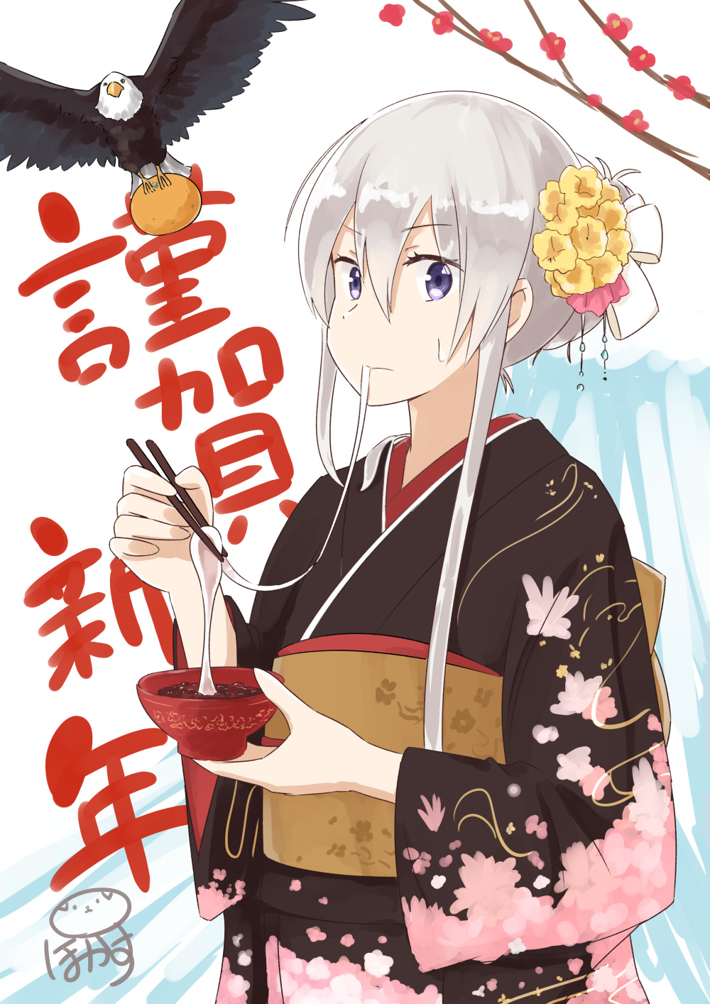 1girl alternate_costume alternate_hairstyle azur_lane bald_eagle bird bowl chopsticks commentary_request eagle eating enterprise_(azur_lane) folded_ponytail grey_eyes hair_ribbon highres holding japanese_clothes kimono long_hair looking_at_viewer mochi new_year obi pokasu ribbon sash silver_hair simple_background sweat translated white_background