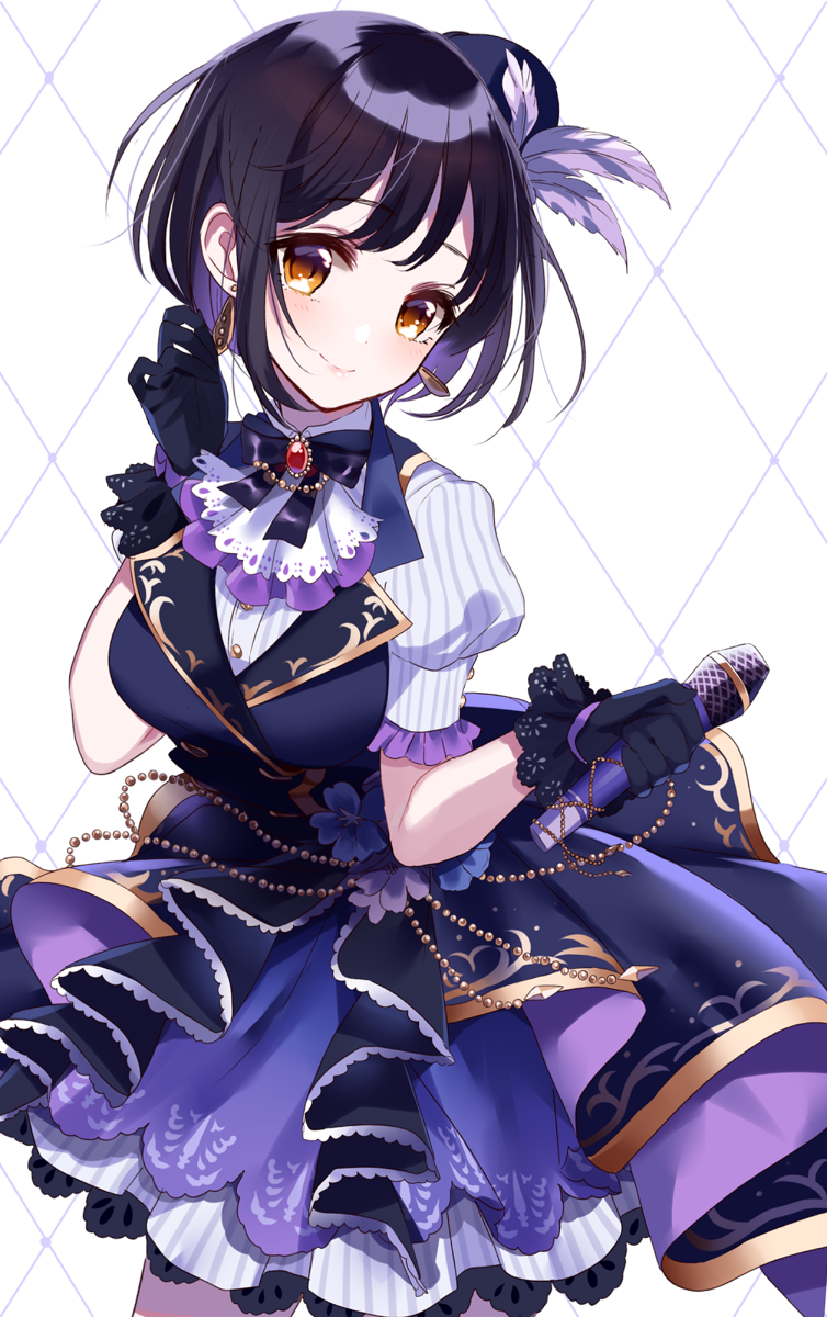 1girl bangs black_gloves black_hair blue_footwear blue_vest blush brown_eyes closed_mouth commentary_request dress_shirt earrings eyebrows_visible_through_hair feathers flower gloves hair_feathers hand_up head_tilt highres holding holding_microphone idolmaster idolmaster_cinderella_girls jewelry lace lace-trimmed_gloves microphone misumi_(macaroni) multicolored_hair pleated_skirt puffy_short_sleeves puffy_sleeves purple_feathers purple_flower purple_hair purple_skirt shirt short_sleeves skirt smile solo striped striped_shirt takafuji_kako two-tone_hair vertical-striped_shirt vertical-striped_skirt vertical_stripes vest white_shirt