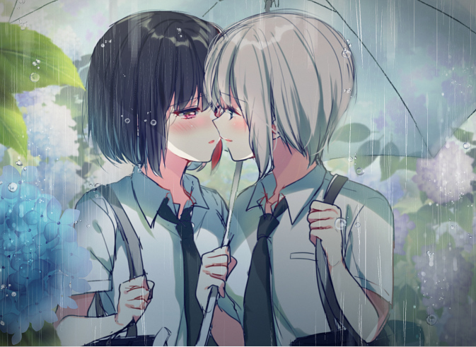 2girls aoba_moka bag bang_dream! black_hair black_neckwear blue_eyes blush collared_shirt eye_contact face-to-face flower grey_hair half-closed_eyes holding holding_strap holding_umbrella hydrangea imminent_kiss looking_at_another mitake_ran mizukikushou multicolored_hair multiple_girls necktie outdoors rain redhead school_bag shirt short_hair streaked_hair umbrella upper_body violet_eyes white_shirt yuri