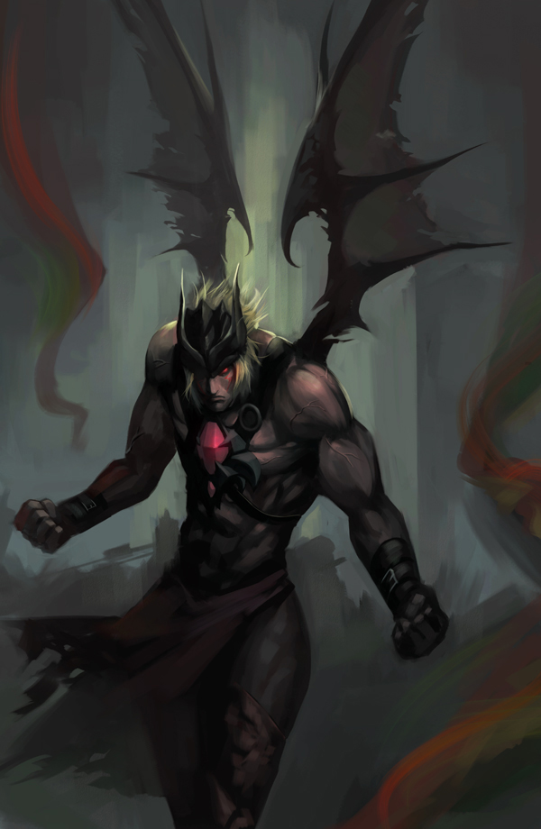 1boy alex_(street_fighter) blonde_hair clenched_hand demon_wings fighter_(7th_dragon) gem glowing glowing_eyes helmet muscle phamoz red_eyes sketch solo street_fighter street_fighter_v wings