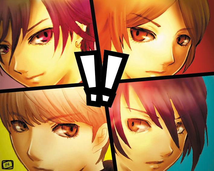 ! all-out_attack arisato_minato bad_id crossover cut-in male narukami_yuu persona persona_1 persona_2 persona_3 persona_4 protagonist_(persona_4) seta_souji suou_tatsuya toudou_naoya y-chan