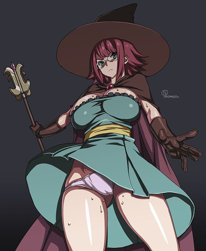 1girl artist_name black_background breasts cape elbow_gloves female from_behind from_below glasses gloves goblin_slayer! green_eyes groin hat large_breasts looking_at_viewer onomeshin panties pink_panties purple_hair short_hair skindentation solo staff sweat thighs underwear upskirt witch_hat wizard_(goblin_slayer!)