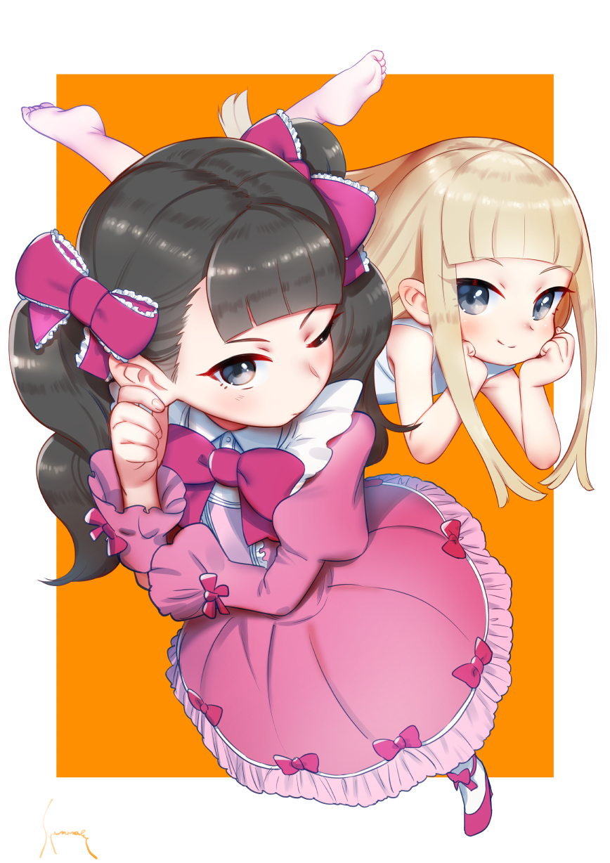 2girls akino_matsuki akino_miyo bangs bare_shoulders black_eyes black_hair blonde_hair blue_eyes blunt_bangs bow chin_rest dress foot_up frilled_dress frills hair_bow high_heels highres long_sleeves looking_at_viewer lying multiple_girls on_stomach pink_bow pink_dress pink_footwear puffy_long_sleeves puffy_sleeves shamonabe shoes smile standing straight_hair twintails wakaokami_wa_shougakusei white_dress wide_sleeves