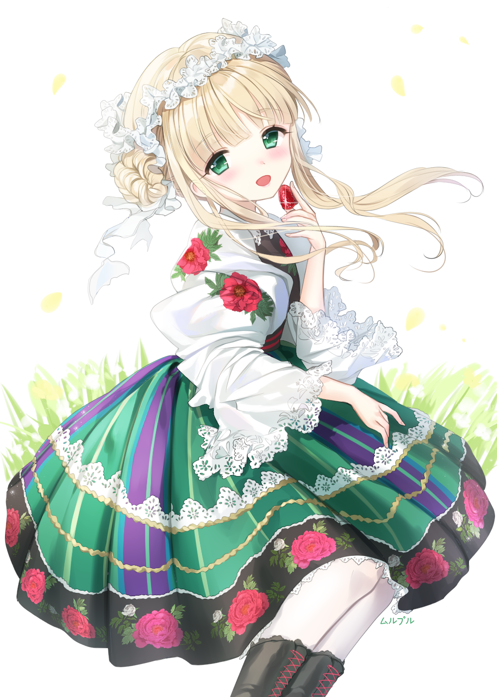 1girl :d bangs black_footwear blonde_hair blush boots commentary_request cross-laced_footwear eyebrows_visible_through_hair floral_print flower food fruit green_eyes green_skirt hair_bun head_tilt highres holding holding_food holding_fruit lace-up_boots long_hair long_sleeves mullpull open_mouth original pantyhose print_skirt puffy_long_sleeves puffy_sleeves rose_print side_bun sidelocks signature skirt smile solo strawberry traditional_clothes white_background white_flower white_legwear wide_sleeves yellow_flower