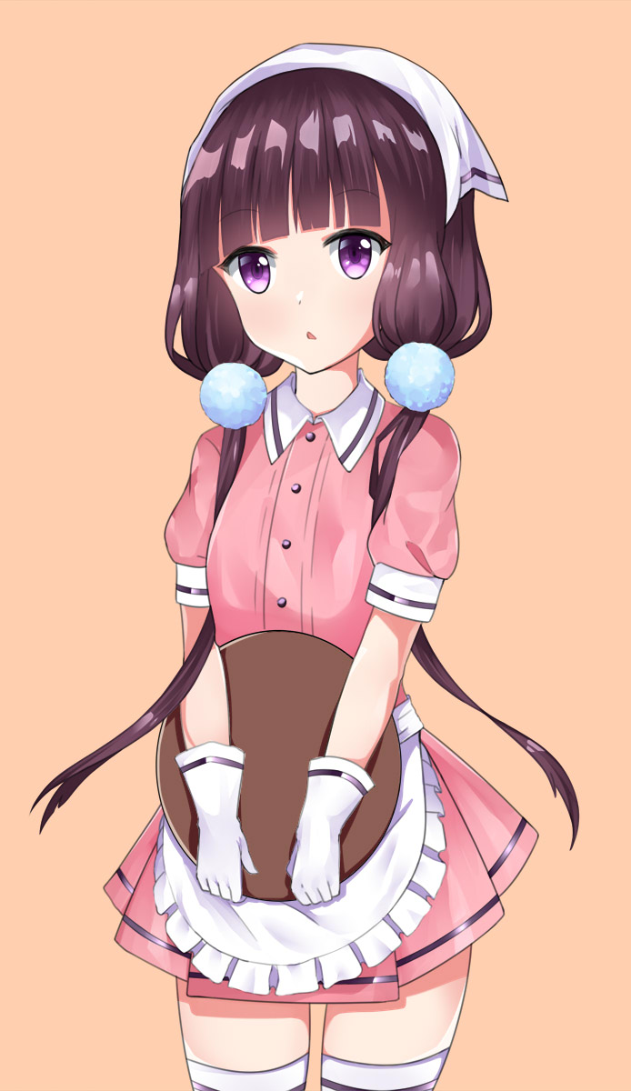 1girl apron bangs beifang_qiji blend_s gloves head_scarf highres long_hair looking_at_viewer low_twintails open_mouth pink_background sakuranomiya_maika short_sleeves skirt solo stile_uniform thigh-highs tray twintails very_long_hair violet_eyes waitress white_gloves white_legwear