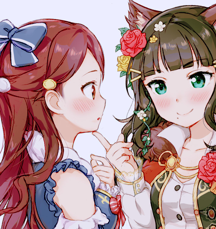 2girls alternate_costume animal_ear_fluff animal_ears aqua_eyes bangs bare_shoulders blue_background blue_bow blue_eyes blunt_bangs bow breasts brown_eyes brown_hair cat_ears clare_(puyo2) collarbone detached_sleeves eye_contact eyebrows_visible_through_hair finger_to_chin flower frilled_sleeves frills fur_collar hair_bow hair_ornament hairclip kemonomimi_mode kurosawa_dia long_hair long_sleeves looking_at_another love_live! love_live!_sunshine!! medium_breasts mole mole_under_mouth multiple_girls parted_lips pointing pointing_at_self profile puffy_long_sleeves puffy_sleeves red_bow red_flower red_rose redhead rose sakurauchi_riko shirt simple_background upper_body wavy_hair white_shirt yellow_flower yellow_rose yuri