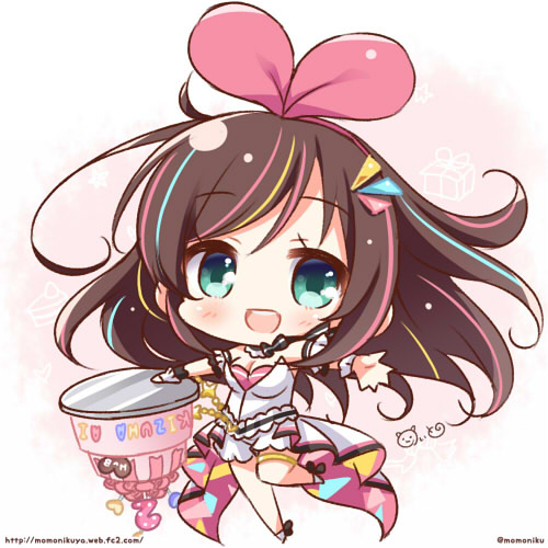 1girl a.i._channel birthday blue_eyes breasts brown_hair cake chibi cleavage commentary_request food hairband kizuna_ai leg_up long_hair looking_at_viewer lowres momoniku_(taretare-13) multicolored_hair outstretched_arms revision simple_background sleeveless smile solo streaked_hair twitter_username upside-down