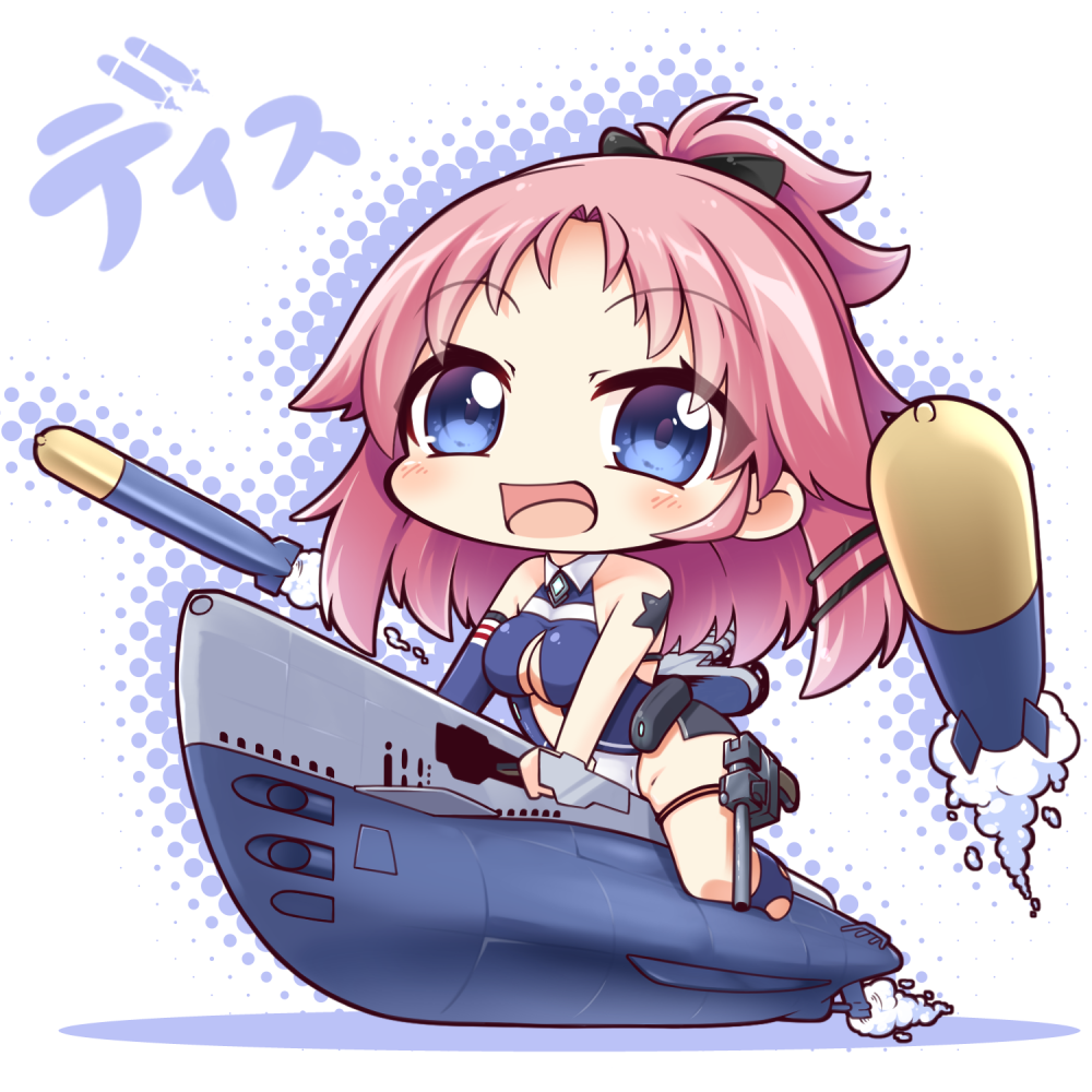 1girl :d azur_lane bangs bare_shoulders black_bow blue_eyes blue_legwear blue_swimsuit blush bow breasts center_opening chibi cleavage cleavage_cutout commentary_request dace_(azur_lane) eyebrows_visible_through_hair hair_bow hair_ornament hairclip halftone high_ponytail long_hair long_sleeves medium_breasts no_shoes one-piece_swimsuit open_mouth parted_bangs pink_hair ponytail shachoo. single_detached_sleeve smile socks solo stirrup_legwear submarine swimsuit toeless_legwear torpedo watercraft