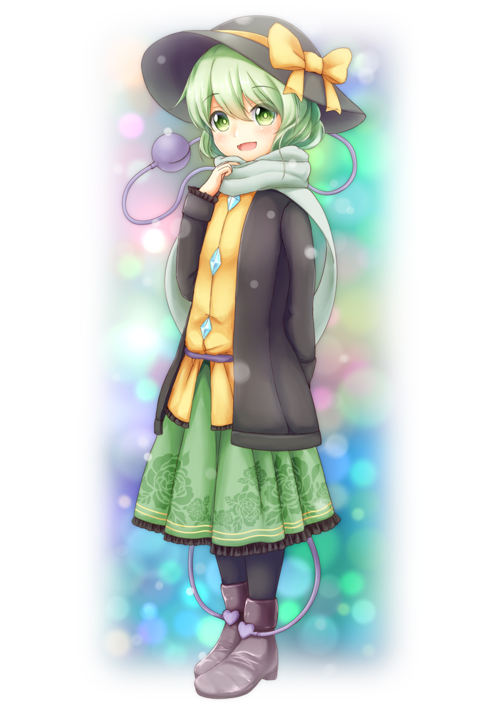 1girl black_hat black_legwear blurry blush boots bow eyeball eyebrows_visible_through_hair floral_print frills glowing green_eyes green_hair green_scarf green_skirt hair_between_eyes hat hat_bow hat_ribbon heart heart_of_string jacket komeiji_koishi kurenaiattack light_particles long_skirt long_sleeves looking_at_viewer medium_hair open_mouth pantyhose ribbon scarf shirt skirt smile solo third_eye touhou wavy_hair white_background yellow_ribbon yellow_shirt