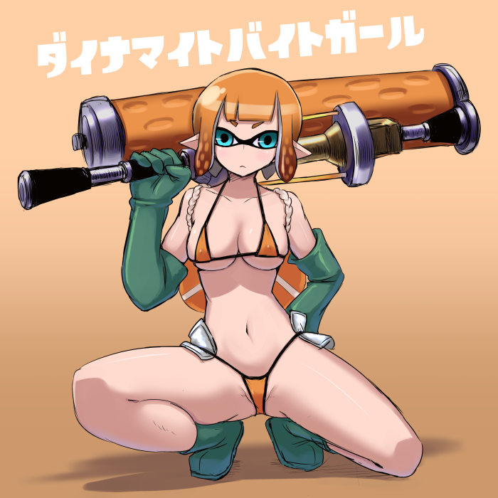 1girl adapted_costume bangs bikini blue_eyes blunt_bangs boots breasts check_commentary closed_mouth commentary_request domino_mask dynamo_roller_(splatoon) elbow_gloves frown full_body gloves green_footwear green_gloves hand_on_hip holding holding_weapon inkling kurakumo_nue lifebuoy looking_at_viewer mask medium_breasts micro_bikini navel nintendo orange_background orange_bikini orange_hair over_shoulder partial_commentary pointy_ears rubber_boots rubber_gloves salmon_run shaded_face short_hair solo splatoon splatoon_2 squatting string_bikini swimsuit weapon weapon_over_shoulder