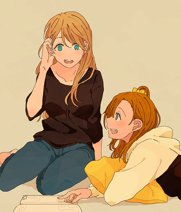 2girls :d ayase_eli bangs barefoot black_shirt blonde_hair blue_eyes book bow collarbone cushion denim grey_background hair_bow hair_down hair_tucking jeans kousaka_honoka long_sleeves love_live! love_live!_school_idol_project lying multiple_girls on_stomach one_side_up open_book open_mouth orange_hair pants pointing shin9tani shirt simple_background sitting smile upper_teeth yellow_bow