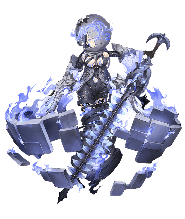 1girl black_hair blue_eyes blue_fire breasts cracked_skin dark_persona empty_eyes fire full_body half-nightmare ji_no kaguya_hime_(sinoalice) large_breasts long_hair navel official_art one_eye_covered pale_skin sideboob sinoalice solo sphere square stone_tablet sword transparent_background weapon