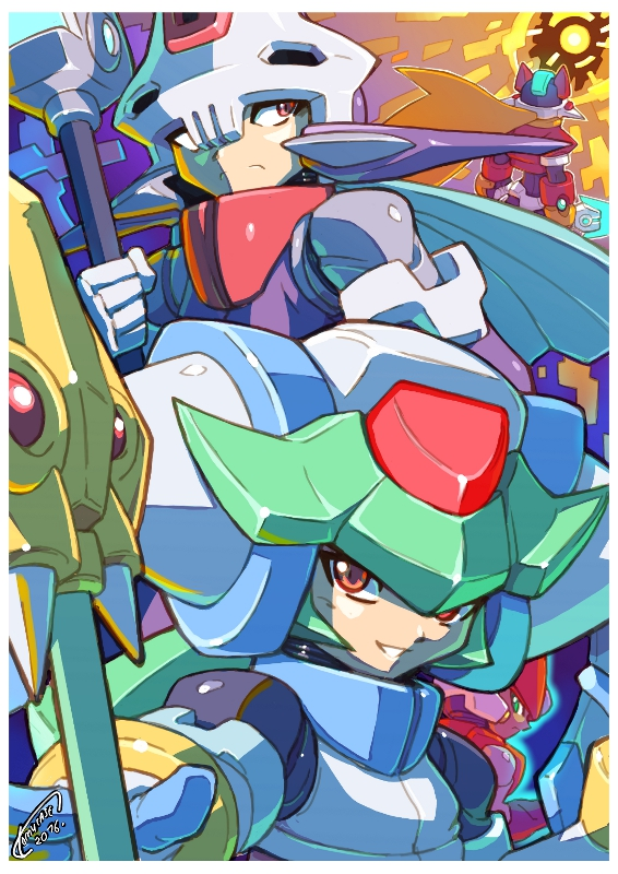 1girl 2boys android artist_name blonde_hair border dated gloves green_hair helmet holding holding_weapon long_hair model_a model_zx pandora_(rockman) power_armor prometheus red_eyes rockman rockman_zx rockman_zx_advent signature smile staff tomycase weapon white_border