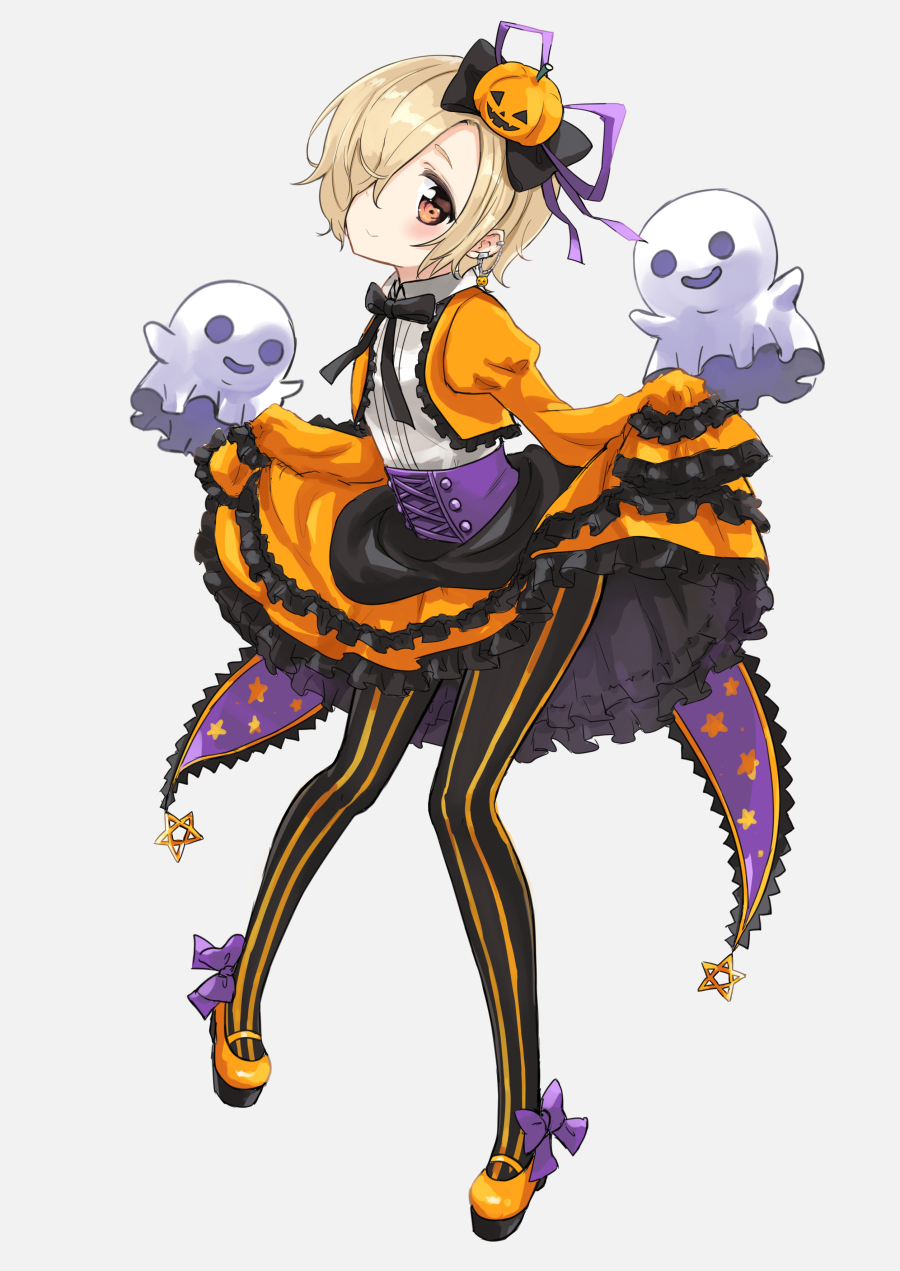 1girl black_bow blonde_hair blush bow brown_eyes corset cropped_jacket ear_piercing earrings eluthel frilled_skirt frilled_sleeves frills full_body ghost hair_bow hair_ornament hair_over_one_eye halloween highres idolmaster idolmaster_cinderella_girls idolmaster_cinderella_girls_starlight_stage jack-o'-lantern jack-o'-lantern_hair_ornament jewelry long_sleeves looking_at_viewer orange_skirt pantyhose piercing purple_bow shirasaka_koume short_hair skirt sleeves_past_fingers sleeves_past_wrists smile solo star star_print striped striped_legwear vertical-striped_legwear vertical_stripes
