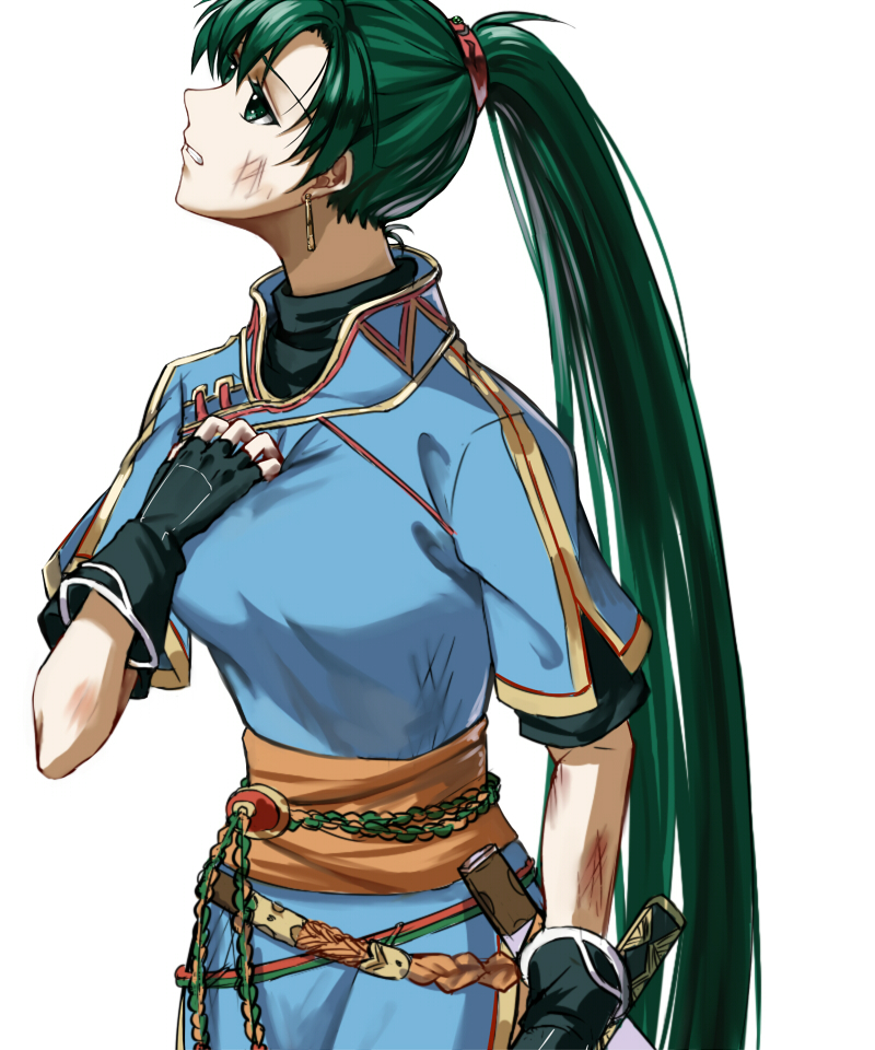 1girl black_gloves breasts bruise clenched_teeth delsaber dress earrings fingerless_gloves fire_emblem fire_emblem:_rekka_no_ken gloves green_eyes green_hair hand_on_own_chest injury jewelry katana long_hair lyndis_(fire_emblem) medium_breasts nintendo ponytail sash scabbard sheath short_sleeves simple_background solo sword teeth turtleneck unsheathed weapon white_background