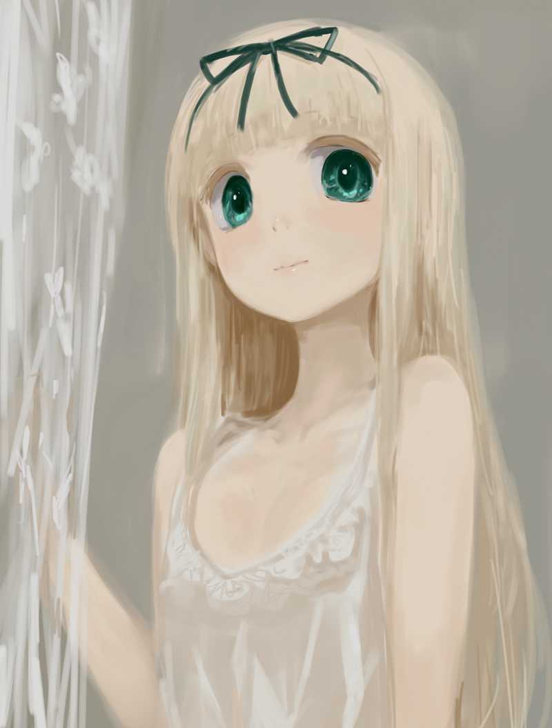 1girl 3: arm_at_side bare_arms bare_shoulders closed_mouth collarbone colored_eyelashes commentary_request expressionless flat_chest green_eyes hand_up kantai_collection kusaka_souji light_blush lips long_hair looking_at_viewer muted_color no_lineart pale_skin platinum_blonde solo straight_hair tareme upper_body yuudachi_(kantai_collection)