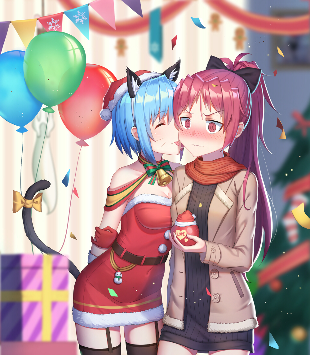 2girls :p @_@ ^_^ alternate_costume animal_ear_fluff animal_ears arms_behind_back balloon bare_shoulders bell bell_choker belt black_bow black_dress black_legwear blue_hair blurry blurry_background blush bow box breasts brown_coat casual cat_ears cat_tail chinese_commentary choker christmas christmas_tree cleavage closed_eyes closed_eyes coat collarbone commentary_request confetti contemporary cowboy_shot dress du_mogu fake_animal_ears fake_tail fur_trim garter_straps gift gift_box gingerbread_man gloves hair_bow hat holding indoors kyubey long_hair long_sleeves mahou_shoujo_madoka_magica medium_breasts miki_sayaka multiple_girls nose_blush open_clothes open_coat picture_frame pom_pom_(clothes) ponytail red_dress red_eyes red_gloves red_hat red_scarf redhead ribbed_dress rope sakura_kyouko saliva saliva_trail santa_costume santa_hat scarf short_dress short_hair sidelocks snowflake_print standing strapless strapless_dress string_of_flags striped striped_scarf tail tail_bow thigh-highs thighs tongue tongue_out v-shaped_eyebrows wallpaper_(object) wavy_mouth whisker_markings yellow_bow yuri zettai_ryouiki