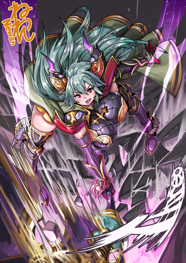 1girl armor attack breasts cape draph fang full_body granblue_fantasy greaves green_hair ground_shatter holding holding_weapon horns huge_breasts impossible_clothes long_hair motion_blur neone open_mouth red_eyes thalatha_(granblue_fantasy) weapon