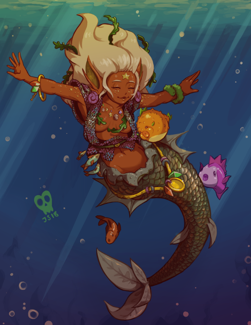 1girl ^_^ blonde_hair breasts closed_eyes closed_eyes commentary dark_skin english_commentary fins head_fins joakim_sandberg long_hair mermaid monster_girl navel original scales small_breasts solo_focus underwater