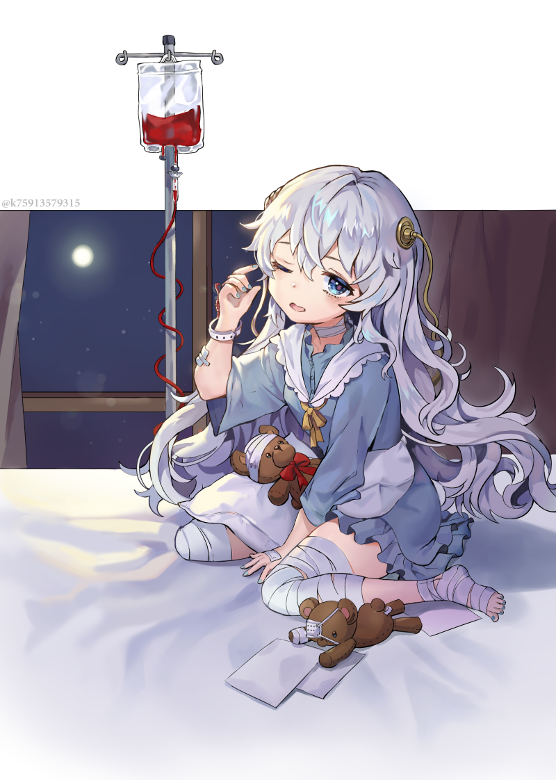 1girl bandage bandage_over_one_eye bandaged_foot bandaged_hand bandaged_leg bandaged_neck bandages between_legs blue_dress blue_eyes bow bracelet commentary_request curtains dress frilled_dress frilled_sailor_collar frills full_body girls_frontline hair_ornament half-closed_eye hand_between_legs intravenous_drip jewelry lerome letter long_hair looking_at_viewer moon nail_polish neckerchief night night_sky on_bed one_eye_closed open_mouth pillow red_bow ribeyrolles_1918_(girls_frontline) silver_hair sitting sky solo stuffed_animal stuffed_toy teddy_bear very_long_hair wariza wavy_hair window yellow_neckwear
