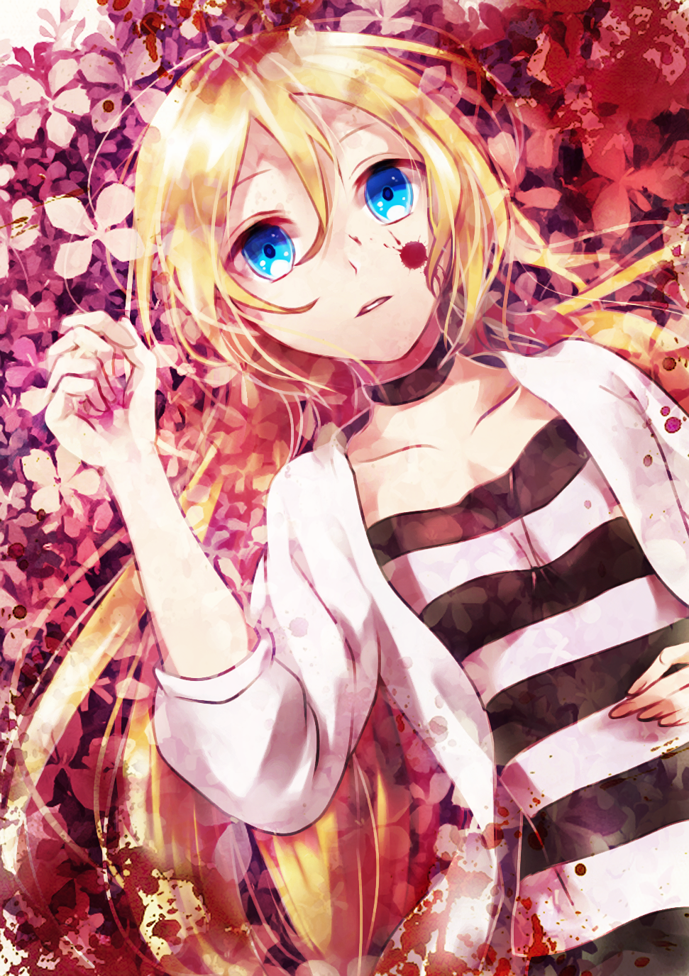 1girl agatsu_yudume blonde_hair blood blood_on_face bloody_clothes blue choker collarbone eyes from_above hair_between_eyes highres jacket long_hair looking_at_viewer lying on_back open_clothes open_jacket parted_lips rachel_gardner satsuriku_no_tenshi shirt solo striped striped_shirt upper_body very_long_hair white_jacket