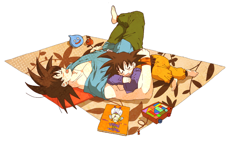 20cal 2boys barefoot black_hair blanket blush chest closed_eyes dougi dragon_ball dragonball_z drooling eyebrows_visible_through_hair father_and_son fingernails full_body hand_on_own_stomach leg_up long_sleeves lying magazine male_focus multiple_boys open_mouth orange_pillow pillow profile short_hair sleeping sleeping_on_person sleeveless son_gokuu son_goten spiky_hair stuffed_toy toy toy_car transparent_background wristband