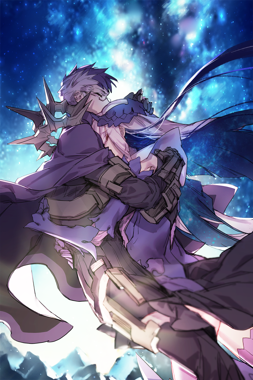 1boy 1girl armor black_skirt brynhildr_(fate) cape closed_eyes fate/grand_order fate/prototype fate/prototype:_fragments_of_blue_and_silver fate_(series) glasses highres hug krab long_hair multicolored_hair night night_sky purple_cape purple_hair sigurd_(fate/grand_order) silver_hair skirt sky star_(sky) starry_sky two-tone_hair very_long_hair white_hair