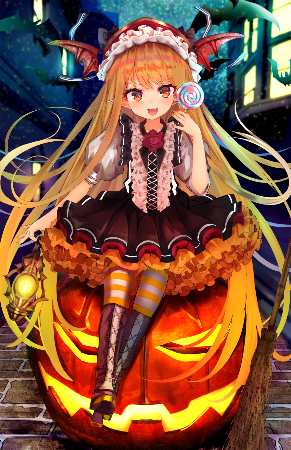 1girl :d animal bamboo_broom bangs bat bat_wings blonde_hair blurry blurry_background boots bow broom brown_bow brown_footwear brown_skirt brown_vest building candy commentary_request cross-laced_footwear depth_of_field eyebrows_visible_through_hair fang fingernails flower food frills full_body glowing granblue_fantasy halloween hand_up head_tilt head_wings high_heel_boots high_heels highres holding holding_food holding_lantern holding_lollipop jack-o'-lantern lace-up_boots lantern lollipop long_hair marisayaka nail_polish night open_mouth outdoors pantyhose pleated_skirt pointy_ears puffy_short_sleeves puffy_sleeves red_eyes red_flower red_nails red_rose red_wings rose shingeki_no_bahamut shirt short_sleeves sitting skirt smile solo striped striped_legwear swirl_lollipop vampy very_long_hair vest white_shirt window wings