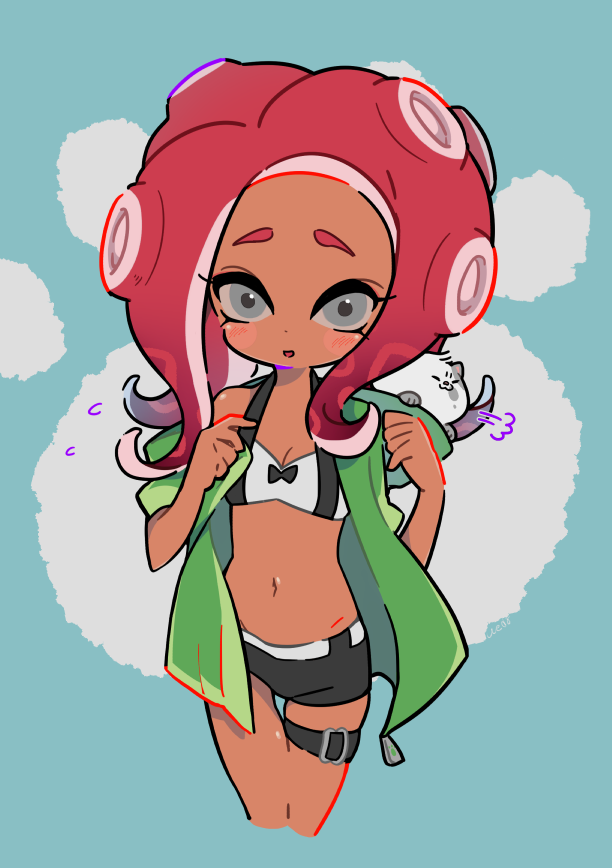 1girl =3 agent_8 bikini bikini_shorts black_bikini blue_background blush_stickers breasts carrying cat cleavage commentary cropped_legs dark_skin flying_sweatdrops green_jacket grey_background jacket kitten kojajji-kun_(splatoon) makeup mascara navel nintendo octoling open_clothes open_jacket paw_print pointy_ears redhead shorts sigh small_breasts splatoon splatoon_2 splatoon_2:_octo_expansion suction_cups swimsuit tentacle_hair thigh_gap thigh_strap ueda_kou undressing