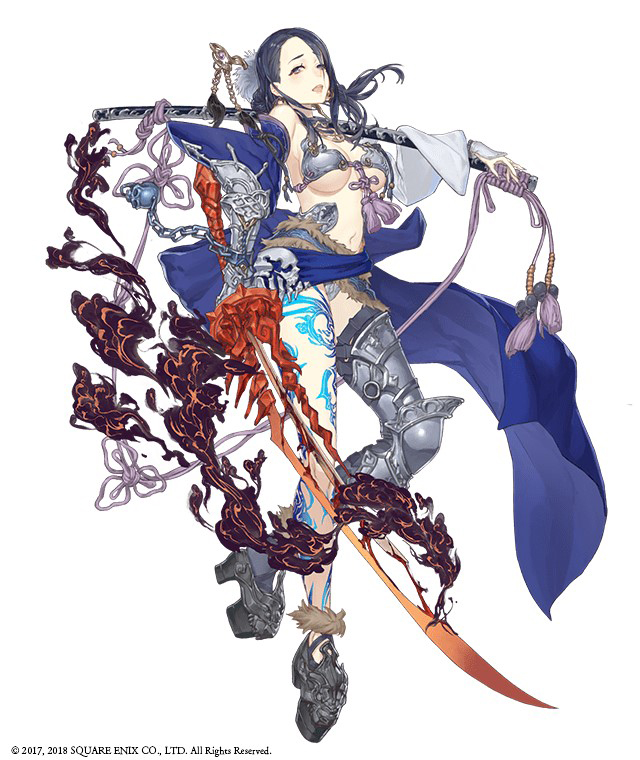 1girl armor armored_boots asymmetrical_legwear bikini_armor black_hair boots chains full_body fur_trim gauntlets hair_over_one_eye ji_no kaguya_hime_(sinoalice) looking_at_viewer navel official_art open_mouth over_shoulder parted_lips platform_footwear revealing_clothes scabbard sheath single_gauntlet sinoalice smoke solo sword tattoo thigh-highs thigh_boots weapon white_background