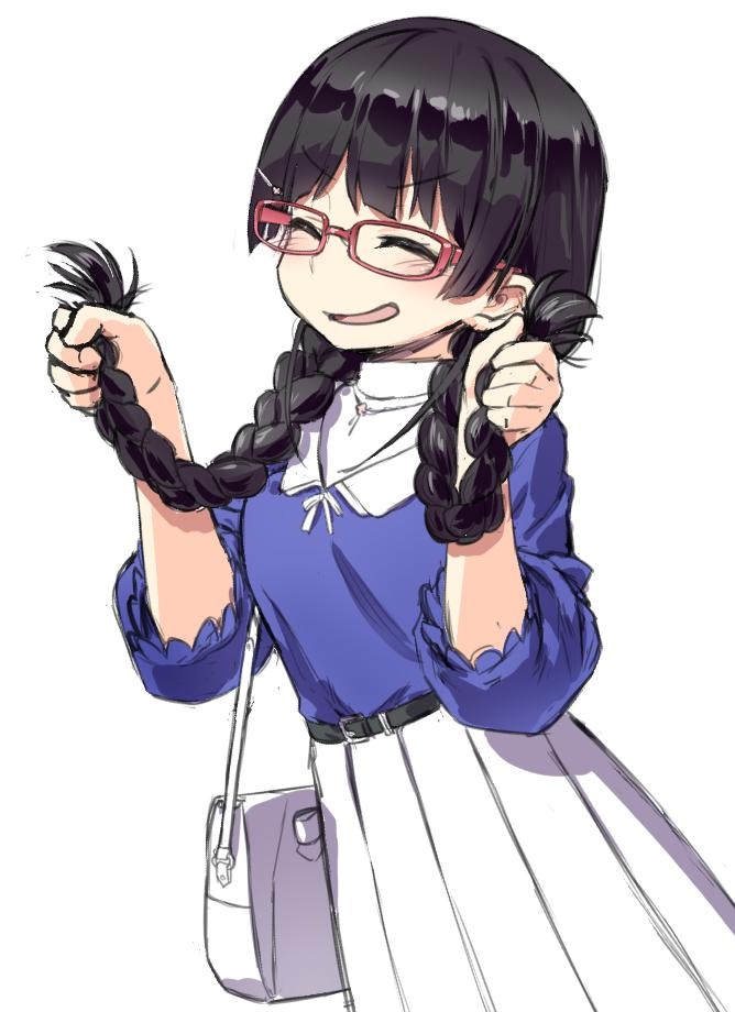 1girl bag belt black_hair braid dress eyebrows_visible_through_hair glasses hair_ornament hairclip handbag holding holding_hair jewelry kath nijisanji open_mouth pendant puffy_sleeves smile tagme tsukino_mito twin_braids virtual_youtuber white_background