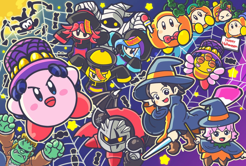 5boys 5girls adeleine bat_wings black_hair blonde_hair blue_eyes blue_hair blush_stickers bonkers bug candy cloak commentary_request como_(kirby) copy_ability cosplay crazy_eyes dark_meta_knight fangs flamberge_(kirby) food francisca_(kirby) frankenstein's_monster frankenstein's_monster_(cosplay) grey_eyes hal_laboratory_inc. halloween halloween_costume happy_halloween hat hidden_face hoshi_no_kirby hoshi_no_kirby_3 hoshi_no_kirby_64 hoshi_no_kirby_kagami_no_daimeikyuu hoshi_no_kirby_sanjou!_dorocche_dan hoshi_no_kirby_super_deluxe hyness jester_cap jiangshi_costume kirby kirby's_dream_land_3 kirby:_star_allies kirby_(series) kirby_64 kirby_and_the_amazing_mirror kirby_squeak_squad kirby_super_star marx mask meta_knight moon multiple_boys multiple_girls mummy_costume night night_sky nintendo official_art one_eye_closed open_mouth pink_hair redhead ribbon_(kirby) scar scar_across_eye silhouette silk sky smile spider spider_web star violet_eyes waddle_dee wand wings witch_hat yellow_eyes zan_partizanne