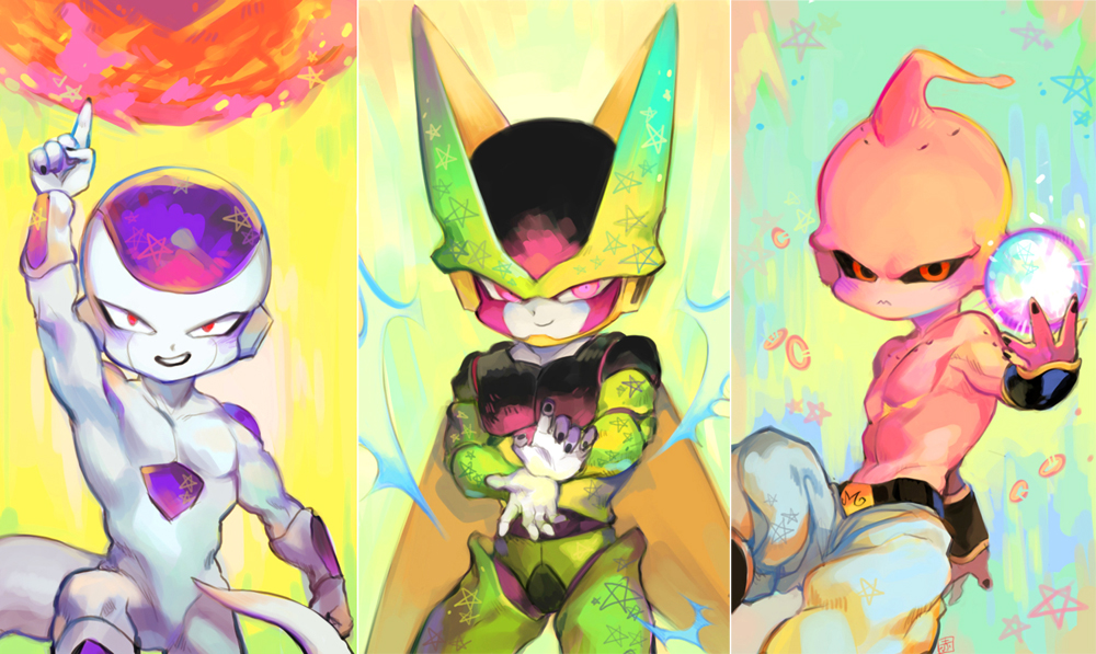 3boys akame_(chokydaum) arm_at_side attacking_viewer aura blue_background cell_(dragon_ball) chibi cupping_hands dragon_ball dragonball_z energy_ball evil_grin evil_smile fingernails floating frieza gradient gradient_background green_background grin index_finger_raised looking_at_viewer majin_buu male_focus multicolored multicolored_background multiple_boys outstretched_arm panels pants perfect_cell pink_background pink_eyes puffy_pants red_eyes smile standing star starry_background tail teeth upper_body white_background white_pants yellow_background
