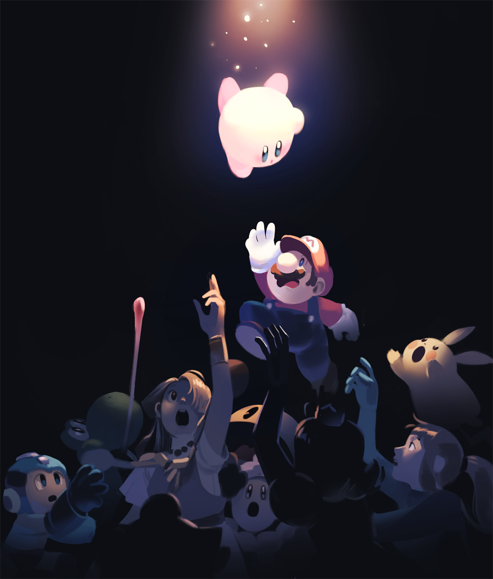 2girls 4boys 5others arm_cannon big_nose bodysuit creatures_(company) dark_background dress facial_hair game_freak gen_1_pokemon gg_d.g. gloves hair_over_one_eye hat helmet hoshi_no_kirby ice_climber ice_climbers jewelry jigglypuff kirby kirby_(series) light light_particles long_hair long_tongue looking_up mario mario_(series) metroid multiple_boys multiple_girls mustache necklace nintendo overalls pac-man pac-man_(game) pikachu pokemon ponytail popo_(ice_climber) princess_daisy princess_zelda reaching_out red_hat rockman rockman_(character) rockman_(classic) samus_aran super_mario_bros. super_smash_bros. super_smash_bros._ultimate the_legend_of_zelda tongue tongue_out weapon yoshi