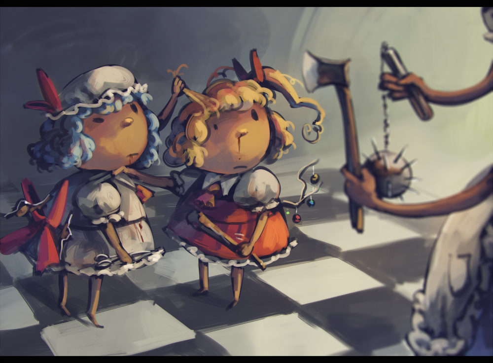 3girls ascot axe blonde_hair blood blood_from_mouth blood_stain blue_hair bow branch checkered checkered_floor commentary_request dress flail flandre_scarlet hair_bow hair_pull hat holding holding_weapon izayoi_sakuya jeweled_branch_of_hourai koto_inari letterboxed mob_cap morning_star multiple_girls nose nosebleed out_of_frame puffy_sleeves remilia_scarlet scissors short_hair short_sleeves siblings side_ponytail sisters strangling touhou weapon white_dress wings