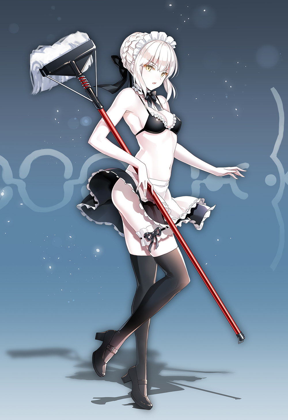 1girl apron artoria_pendragon_(all) artoria_pendragon_(swimsuit_rider_alter) bangs bare_arms bare_shoulders bikini_top black_bikini_top black_bow black_footwear black_legwear black_skirt blush bow braid breasts brown_eyes commentary_request eyebrows_visible_through_hair fate/grand_order fate_(series) frilled_apron frills full_body hair_between_eyes hair_bow hair_bun high_heels highres holding light_brown_hair maid_headdress medium_breasts mop navel parted_lips shoes sidelocks skirt solo standing standing_on_one_leg suishougensou thigh-highs tiptoes waist_apron white_apron